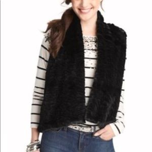 LOFT Black Faux Fur Knit Back Open Vest
